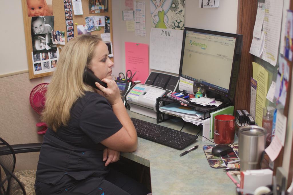 Receptionist Michele Hansen